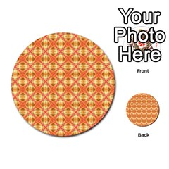 Peach Pineapple Abstract Circles Arches Multi Purpose Cards (round)  by DianeClancy