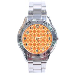 Peach Pineapple Abstract Circles Arches Stainless Steel Analogue Watch by DianeClancy