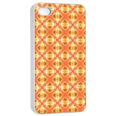 Peach Pineapple Abstract Circles Arches Apple Iphone 4/4s Seamless Case (white) by DianeClancy