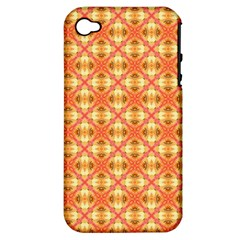 Peach Pineapple Abstract Circles Arches Apple Iphone 4/4s Hardshell Case (pc+silicone) by DianeClancy