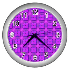 Abstract Dancing Diamonds Purple Violet Wall Clocks (silver)  by DianeClancy