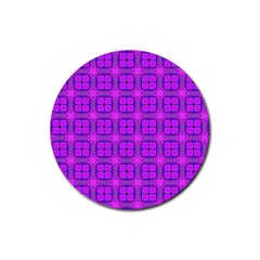 Abstract Dancing Diamonds Purple Violet Rubber Round Coaster (4 Pack)  by DianeClancy