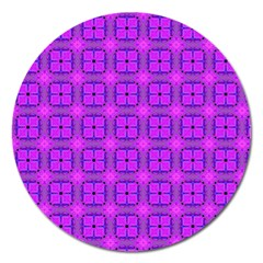 Abstract Dancing Diamonds Purple Violet Magnet 5  (round) by DianeClancy