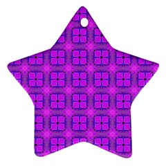 Abstract Dancing Diamonds Purple Violet Star Ornament (two Sides)  by DianeClancy
