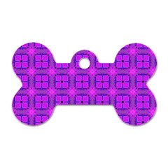 Abstract Dancing Diamonds Purple Violet Dog Tag Bone (two Sides) by DianeClancy