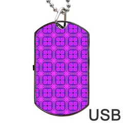 Abstract Dancing Diamonds Purple Violet Dog Tag Usb Flash (two Sides)  by DianeClancy
