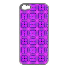 Abstract Dancing Diamonds Purple Violet Apple Iphone 5 Case (silver) by DianeClancy