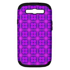 Abstract Dancing Diamonds Purple Violet Samsung Galaxy S Iii Hardshell Case (pc+silicone) by DianeClancy