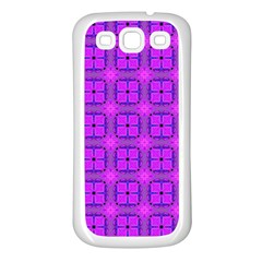 Abstract Dancing Diamonds Purple Violet Samsung Galaxy S3 Back Case (white) by DianeClancy