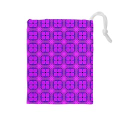 Abstract Dancing Diamonds Purple Violet Drawstring Pouches (large)  by DianeClancy