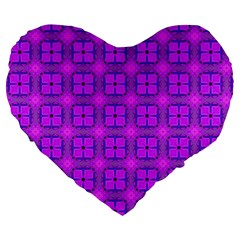 Abstract Dancing Diamonds Purple Violet Large 19  Premium Flano Heart Shape Cushions by DianeClancy