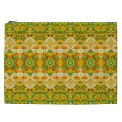 Boho Stylized Floral Stripes Cosmetic Bag (xxl)  by dflcprints