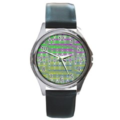 Colorful Zigzag Pattern Round Metal Watch by BrightVibesDesign