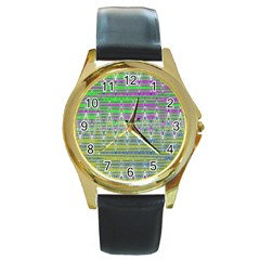 Colorful Zigzag Pattern Round Gold Metal Watch by BrightVibesDesign