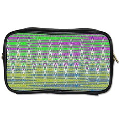 Colorful Zigzag Pattern Toiletries Bags 2 Side by BrightVibesDesign