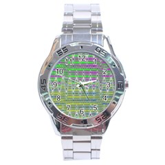 Colorful Zigzag Pattern Stainless Steel Analogue Watch by BrightVibesDesign