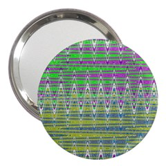 Colorful Zigzag Pattern 3  Handbag Mirrors by BrightVibesDesign