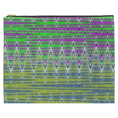 Colorful Zigzag Pattern Cosmetic Bag (xxxl)  by BrightVibesDesign