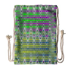 Colorful Zigzag Pattern Drawstring Bag (large) by BrightVibesDesign