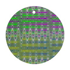 Colorful Zigzag Pattern Ornament (round)  by BrightVibesDesign