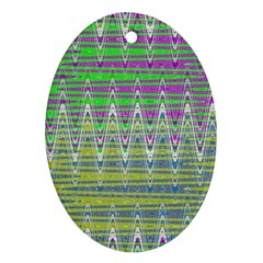 Colorful Zigzag Pattern Oval Ornament (two Sides) by BrightVibesDesign