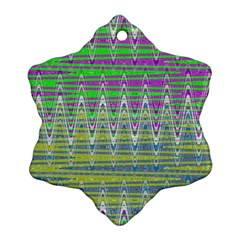 Colorful Zigzag Pattern Ornament (snowflake)  by BrightVibesDesign