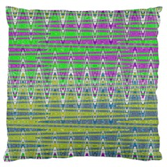 Colorful Zigzag Pattern Large Flano Cushion Case (one Side) by BrightVibesDesign