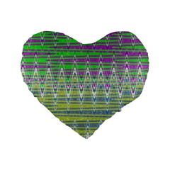 Colorful Zigzag Pattern Standard 16  Premium Flano Heart Shape Cushions by BrightVibesDesign