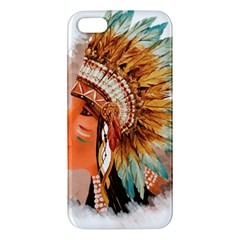 Native American Young Indian Shief Apple Iphone 5 Premium Hardshell Case by TastefulDesigns