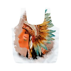 Native American Young Indian Shief Full Print Recycle Bags (m)