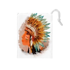 Native American Young Indian Shief Drawstring Pouches (medium)  by TastefulDesigns