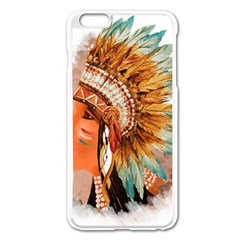 Native American Young Indian Shief Apple Iphone 6 Plus/6s Plus Enamel White Case