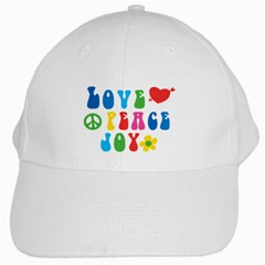 Love Peace And Joy  White Cap by TastefulDesigns