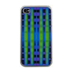 Blue Green Geometric Apple Iphone 4 Case (clear) by BrightVibesDesign