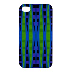 Blue Green Geometric Apple Iphone 4/4s Premium Hardshell Case by BrightVibesDesign
