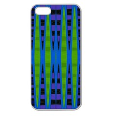 Blue Green Geometric Apple Seamless Iphone 5 Case (clear) by BrightVibesDesign