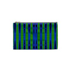 Blue Green Geometric Cosmetic Bag (small)