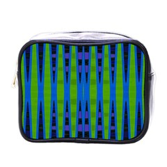 Blue Green Geometric Mini Toiletries Bags