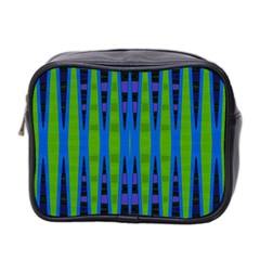 Blue Green Geometric Mini Toiletries Bag 2 Side