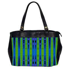 Blue Green Geometric Office Handbags (2 Sides)