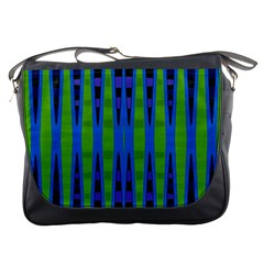 Blue Green Geometric Messenger Bags by BrightVibesDesign