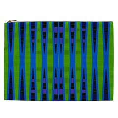 Blue Green Geometric Cosmetic Bag (xxl)  by BrightVibesDesign