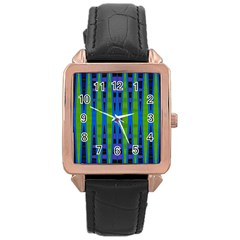 Blue Green Geometric Rose Gold Leather Watch