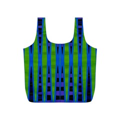 Blue Green Geometric Full Print Recycle Bags (s)