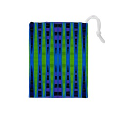 Blue Green Geometric Drawstring Pouches (medium)
