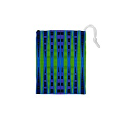 Blue Green Geometric Drawstring Pouches (xs)  by BrightVibesDesign