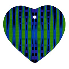 Blue Green Geometric Ornament (heart)  by BrightVibesDesign