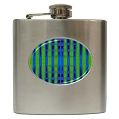 Blue Green Geometric Hip Flask (6 Oz) by BrightVibesDesign