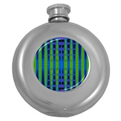 Blue Green Geometric Round Hip Flask (5 Oz) by BrightVibesDesign