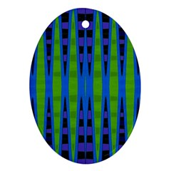 Blue Green Geometric Oval Ornament (two Sides)